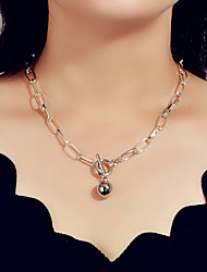 cheap -Women's Chain Necklace Trendy Alloy Silver 47 cm Necklace Jewelry For Festival