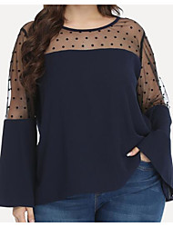 cheap -Women's Plus Size Mesh Lace Polka Dot Plain T shirt Large Size Crewneck Long Sleeve Tops Big Size