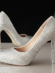 cheap -Women's Wedding Shoes Stiletto Heel Pointed Toe Wedding Pumps Vintage Sexy Minimalism Wedding Party & Evening PU Rhinestone Crystal Sparkling Glitter Solid Colored Silver