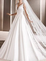 cheap -A-Line Wedding Dresses V Neck Court Train Satin Sleeveless Simple Luxurious with 2021