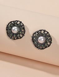 cheap -Women's Stud Earrings Geometrical Fashion Imitation Pearl Imitation Diamond Earrings Jewelry Black For Date Festival