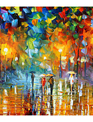 cheap -IARTS®Hand Painted Raindrops on their way home Oil Painting   with Stretched Frame For Home Decoration