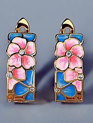 cheap -Women's AAA Cubic Zirconia Earrings Fancy Petal Stylish Elegant Sweet Earrings Jewelry Gold For Party Evening Date Vacation 1 Pair