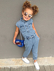 cheap -Toddler Girls' Clothing Set Sleeveless Blue Solid Color Drawstring Causal Daily Wear Active Fashion Streetwear Regular