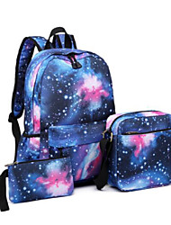 cheap -Unisex Kids Oxford Cloth School Bag Rucksack Waterproof Backpack Large Capacity Zipper 3D Print Galaxy Causal Traveling Backpack Dark blue three-piece suit Wild black Fashion red three-piece suit