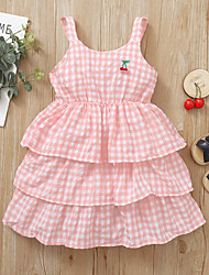 cheap -Kids Little Girls' Dress Cherry Solid Colored Party Causal Embroidered Layered Ruffle Blushing Pink Asymmetrical Sleeveless Active Cute Dresses Regular Fit 1-5 Years