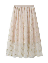 cheap -Women's Daily Vacation Elegant Streetwear Skirts Floral Beaded Flower Layered Beige