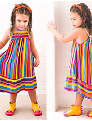 cheap -Kids Little Girls' Dress Color Block Causal Backless Rainbow Midi Sleeveless Vintage Dresses Regular Fit 3-10 Years