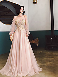cheap -A-Line Beautiful Back Floral Engagement Formal Evening Dress Spaghetti Strap Long Sleeve Sweep / Brush Train Tulle with Pleats Appliques 2021