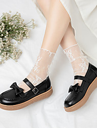 cheap -Girls' Flats Flower Girl Shoes Princess Shoes PU Mary Jane Big Kids(7years +) Daily Party & Evening Bowknot Buckle Almond White Black Spring Summer