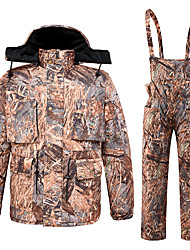 cheap -Men's Hoodie Jacket Hunting Jacket with Pants Outdoor Thermal Warm Quick Dry Breathable Sweat wicking Winter Camo / Camouflage Top Spandex Camouflage / Micro-elastic