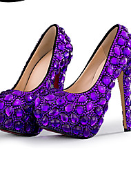 cheap -Women's Wedding Shoes Platform Round Toe Wedding Pumps Vintage Sexy Roman Shoes Wedding Party & Evening PU Rhinestone Pearl Sparkling Glitter Solid Colored Color Block Purple
