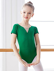 cheap -Ballet Leotard / Onesie Ruching Split Joint Girls' Training Performance Short Sleeve High Mesh Spandex