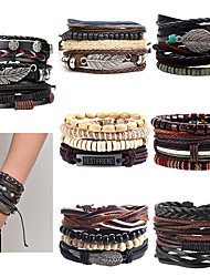 cheap -Men's Turquoise Wrap Bracelet Leather Bracelet Stack Rope Plaited Wrap Leaf Evil Eye Boho Leather Bracelet Jewelry Black / Silver / Black / Red / Red / Orange For Party Gift Casual Daily Beach
