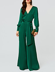 cheap -Jumpsuits Beautiful Back Empire Wedding Guest Formal Evening Dress V Neck Long Sleeve Floor Length Satin with Sash / Ribbon 2021