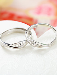cheap -Couple Rings Geometrical Silver S925 Sterling Silver Love Precious Elegant Fashion 1 Pair Adjustable / Couple's / Adjustable Ring