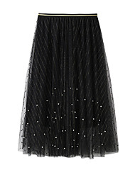 cheap -Women's Going out Weekend Elegant Streetwear Skirts Solid Colored Beaded Layered Pleated White Black Gray