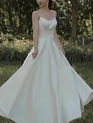 cheap -A-Line Minimalist Elegant Engagement Prom Dress Spaghetti Strap Sleeveless Floor Length Italy Satin with Sleek Pleats 2021