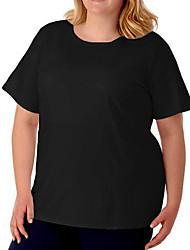 cheap -Women's Plus Size Tops T shirt Plain Large Size Crewneck Short Sleeve Big Size / Cotton