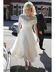cheap -A-Line Wedding Dresses Jewel Neck Tea Length Chiffon Sequined Short Sleeve Country Romantic Sparkle & Shine with Pleats Sequin 2021
