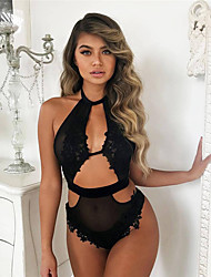 cheap -Women's Normal Backless Mesh Super Sexy Chemises & Gowns Undergarments Lingerie Lingerie - Spandex Special Occasion Party / Evening Solid Colored Bras & Panties Sets Black S M L