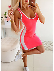 cheap -Women's Tank Dress Artistic Style Scoop Neck Stripes Sport Athleisure Dress Sleeveless Breathable Soft Comfortable Everyday Use Casual Daily Outdoor