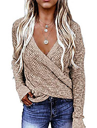 cheap -Women's Petite Fall Fashion Trendy 2020 Tops Sexy Deep V Neck Sweaters for Ladies Cute Khaki Pullovers Fall Long Sleeve Waffle Knit Tops Loose Oversize Sweater Wrap Blouses Clothes M