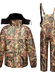 cheap -Men's Hoodie Jacket Hunting Jacket with Pants Outdoor Thermal Warm Quick Dry Breathable Sweat wicking Winter Camo / Camouflage Top Bottoms Spandex Camping / Hiking Hunting Camouflage / Micro-elastic