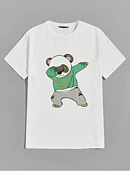 cheap -Men's Unisex T shirt Hot Stamping Bear Animal Plus Size Print Short Sleeve Casual Tops 100% Cotton Casual Fashion White