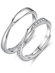 cheap -Couple Rings Geometrical Silver S925 Sterling Silver Love Precious Elegant Fashion 1 Pair Adjustable / Couple's / Adjustable Ring / Band Ring