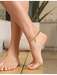 cheap -Leg Chain Stylish Casual / Sporty Women's Body Jewelry For Gift Date Figaro Titanium Steel Alphabet Shape Gold 1 pc