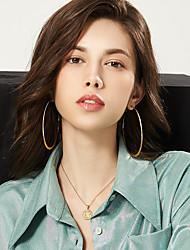 cheap -Women's Hoop Earrings Earrings Ear Clips Geometrical Fashion Stylish Simple Trendy Stainless Steel Earrings Jewelry Black / Gold / Silver For Birthday Street Gift Festival