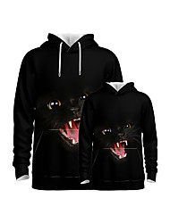 cheap -Family Look Family Matching Outfits Hoodie & Sweatshirt Graphic Optical Illusion Animal Long Sleeve Print Black Active