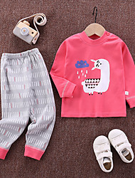cheap -2 Piece Kids Girls' Sleepwear Cat The Little Mermaid Print Letter Animal Pattern Print Active Basic Blushing Pink Dusty Rose Fuchsia 2-6 Years