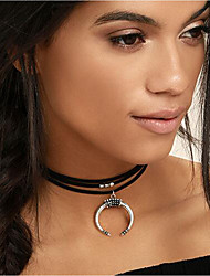 cheap -Women's Choker Necklace Leather Alloy Silver 30+7 cm Necklace Jewelry For