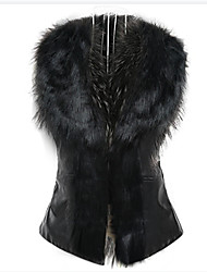 cheap -womens faux raccoon fur collar vest jacket sleeveless waistcoat black xl