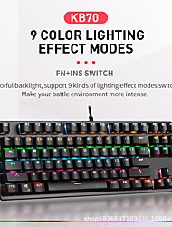 cheap -LITBest K870 USB Wired Mechanical Keyboard Gaming Keyboard Gaming Waterproof Multicolor Backlit 87 pcs Keys