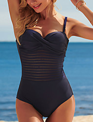 cheap -Women's One Piece Monokini Swimsuit Hollow Out Tummy Control Open Back Solid Color Blue Swimwear Strap Bathing Suits New Elegant Sexy / Party / Cross