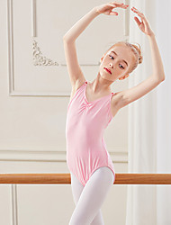 cheap -Ballet Leotard / Onesie Ruching Solid Girls' Training Performance Sleeveless High Spandex