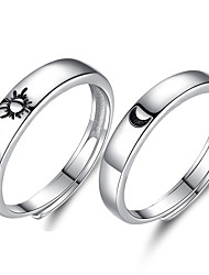 cheap -925 sterling silver anniversary ring adjustable matching ring sun /moon, i love you ring promise