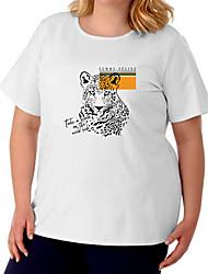 cheap -Women's Plus Size Tops T shirt Graphic Prints Animal Large Size Crewneck Short Sleeve Basic Big Size / Cotton