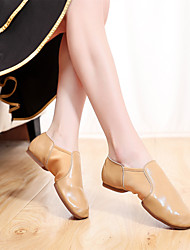 cheap -Women's Ballet Shoes Jazz Shoes Ballroom Shoes Salsa Shoes Flat Thick Heel Red Camel Black Loafer Elastic Slip-on / Performance / Practice