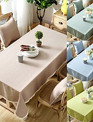 cheap -Waterproof Linen Cotton Tablecloth Solid Color with Lace for Kitchen Dining Table Coffee Table TV Cabinet