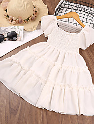 cheap -Kids Little Girls' Dress Solid Colored Ruched White Short Sleeve Cute Dresses Regular Fit