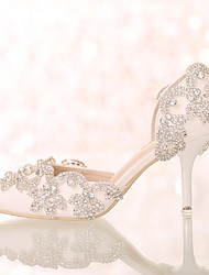cheap -Women's Wedding Shoes Glitter Crystal Sequined Jeweled Stiletto Heel Pointed Toe Wedding Pumps Sweet Wedding Party & Evening PU Rhinestone Crystal Solid Colored Ivory