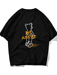 cheap -Men's Unisex T shirt Hot Stamping Bear Letter Plus Size Print Short Sleeve Daily Tops 100% Cotton Basic Casual Black