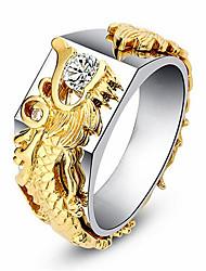 cheap -Band Ring Geometrical Gold Zircon Copper Gold Plated Dragon Precious Fashion Vintage 1pc 8 9 10 / Men's