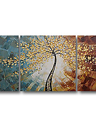cheap -Handmade Oil Painting Hand Painted Horizontal Abstract Landscape Contemporary Modern Stretched Canvas / Three Panels
