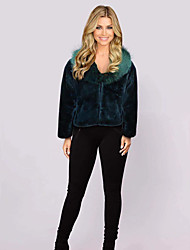 cheap -Women's Faux Fur Coat Regular Solid Colored Party Streetwear Black Wine Green Brown XS S M L
