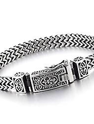 cheap -Stainless Steel 8.5 in Franco Link Curb Chain Bracelet for Men Vintage Fleur de Lis Spring Box Clasp